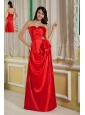 Customize Red Column Sweetheart Prom Dress Satin Beading Floor-length