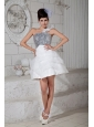 Customize White A-line One Shoulder Cocktail Dress Organza Beading Mini-length