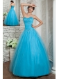 Discount Aqua Blue A-line Prom / Evening Dress Sweetheart Beading Floor-length Tulle