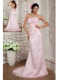Elegant Baby Pink Prom Dress Column Sweetheart Beading Brush Train Lace