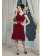 Elegant Burgundy Mother Of The Bride Dress Column Square  Chiffon Beading Knee-length