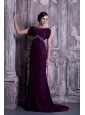 Elegant Dark Purple Mother Of The Bride Dress Column Bateau Chiffon Beading Brush Train