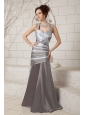 Elegant Gray Mother Of The Bride Dress Column Straps  Elastic Woven Satin Beading Brush Train