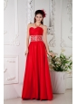 Elegant Red Empire Prom / Evening Dress Sweetheart Beading Floor-length Satin