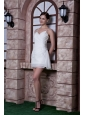 Elegant White Column Spaghetti Straps Cocktail Dress Chiffon Beading Mini-length