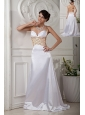 Elegant White  Prom Dress A-line / Princess Straps Brush Train Satin Beading