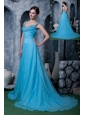 Exquisite Aqua Blue A-line Prom Dress Straps Chiffon Beading Sweep Train