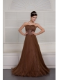 Gorgeous Brown Prom / Evening Dress A-line Sweetheart Organza Ruch Brush Train