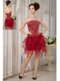 Gorgeous Wine Red Column Strapless Cocktail Dress Orange Beading Mini-length