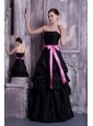 Informal Black A-line Strapless Evening Dress Taffeta Sash and Pick-ups Floor-length