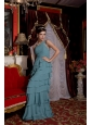 Luxurious Baby Blue Empire Prom / Evening Dress One Shoulder Chiffon Beading Brush Train