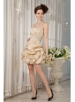 Luxurious Champagne A-line / Princess Strapless Cocktail Dress Taffeta Beading Mini-length