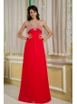 Luxurious Red Empire Prom Dress Sweetheart Chiffon Beading Floor-length
