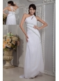 Modern White Column Prom Dress One Shoulder Beading Brush Train Chiffon