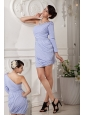 ModernLilac Mother Of The Bride Dress Column One Shoulder Chiffon Beading and Ruch Mini-length