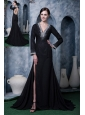 Modest Black Mother Of The Bride Dress A-line V-neck Chiffon Beading Brush Train