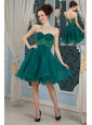 New Dark Green A-line Sweetheart Cocktail Dress Organza Appliques Mini-length