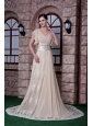 Popolar Champagne Prom Dress Empire V-neck Chiffon and Lace Beading Sweep Train