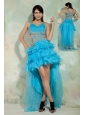 Pretty Sky Blue A-line / Princess Straps High-low Prom Dress Organza Beading