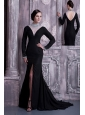 Sexy Black Column Mother Of The Bride Dress High-neck  Chiffon Beading Brush Train
