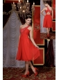 Simple Red Empire Prom / Homecoming Dress One Shoulder Chiffon Beading Tea-length