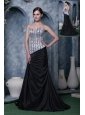 Silver and Black Evening Dress A-line Sweetheart Elastic Woven Satin Beading Brush Train