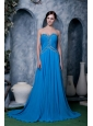 Wonderful  Sky Blue Empire Prom Dress Sweetheart Chiffon Beading Brush Train
