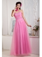 2013 Rose Pink Prom Dress For Custom Made Empire Sweetheart Floor-length Tulle Beading