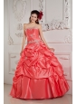 2013 Watermelon Red Sweet 16 Dress Ball Gown Strapless  Taffeta Beading Floor-length