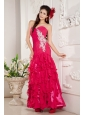 Cheap Hot Pink Empire Prom / Evening Dress Sweetheart Chiffon Appliques Ankle-length