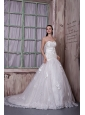 Custom Made A-line Sweetheart Court Train Taffeta and Lace Hand Made Flowers Wedding Dress