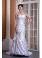 Custom Made Column Sweetheart Wedding Dress Taffeta Appliques and Ruch Court Train