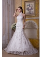Custom Made Mermaid Halter Wedding Dress  Taffeta and Lace Brush Train