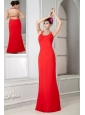 Custom Made Red Prom Dress Column Scoop Floor-length Chiffon Beading