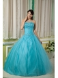 Custom Made Teal Ball Gown Sweetheart 15 Quinceanera Dress Tulle Beading Floor-length