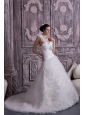 Customize A-line / Princess One Shoulder Wedding Dress Tulle Beading Court Train