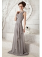 Customize Gray Empire V-neck Prom Dress Chiffon Ruch Brush Train