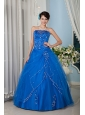 Customize Royal Blue 15 Quinceanera Dress A-line / Princess Strapsless Tulle Floor-length