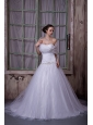 Elegant A-line / Princess Wedding Dress Strapless Chapel Train Tulle Appliques With Beading
