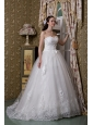 Elegant A-line Sweetheart Wedding Dress Taffeta and Lace Brush Train