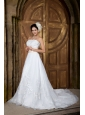 Elegant Beautiful A-line Strapless Wedding Dress Organza Embroidery Court Train
