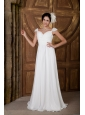 Elegant Empire Sweetheart Wedding Dress Chiffon Beading Brush Train