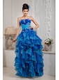 Exclusive Blue Empire Prom Dress Strapless Organza Appliques Floor-length
