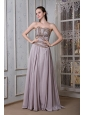 Exclusive Grey Empire Prom Dress Strapless Chiffon Beading Floor-length