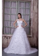 Fashionable A-line One Shoulder Wedding Dress Satin and Tulle Appliques Court Train