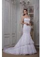 Fashionable Mermaid Strapless Wedding Dress Taffeta and Lace Court Train