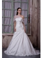 Gorgeous A-line Strapless Wedding Dress Taffeta Appliques Court Train
