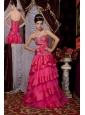 Hot Pink 2013 Prom / Evening Dress A-line Sweetheart  Taffeta and Tulle Beading Brush Train