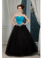 Inexpensive Blue and Black Prom Dress A-line Sweetheart  Beading Floor-length Organza and Tulle