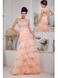 Informal Baby Pink Column Prom Dress Sweetheart Organza Beading Floor-length